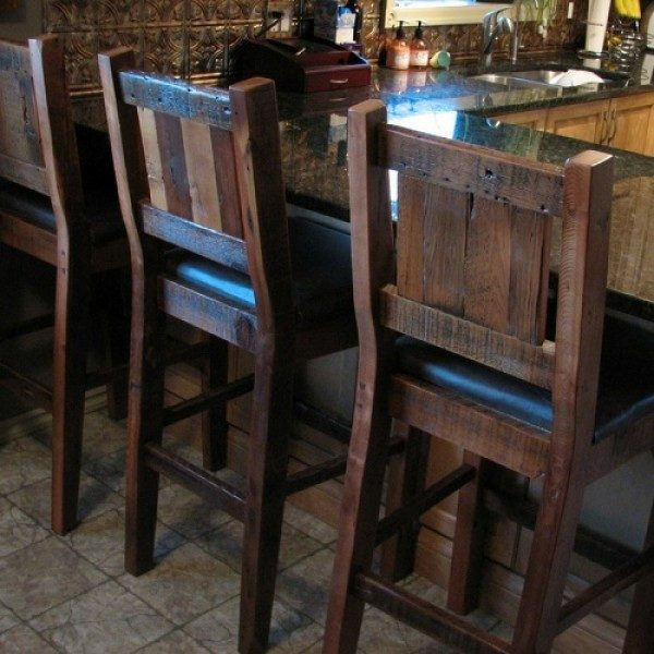 Farm House Barstools made from reclaimed wood named after a town in Manitoba Farm House Barstools made from reclaimed wood named after a town in Manitoba