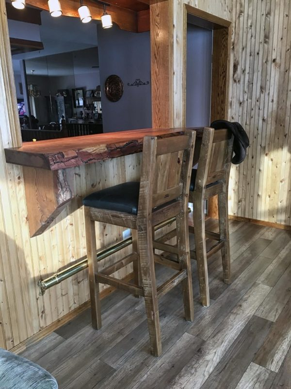 Rustic solid wood barstools made with genuine leather seats