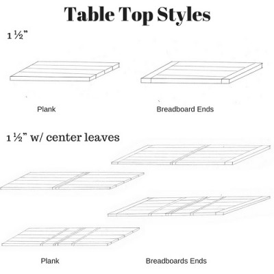 PBW 1.5 inch table top styles