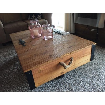 Chest style coffee table perfect for the lakehouse with ample storage hand crafted in southern Manitoba