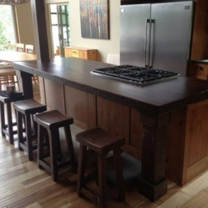 Rustic island top hand crafted from reclaimed barnwood
