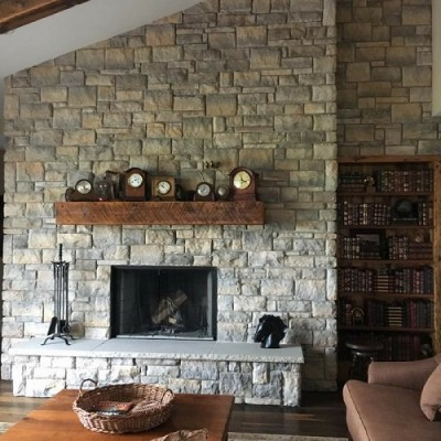 Solid beam mantel reclaimed from ontario barns
