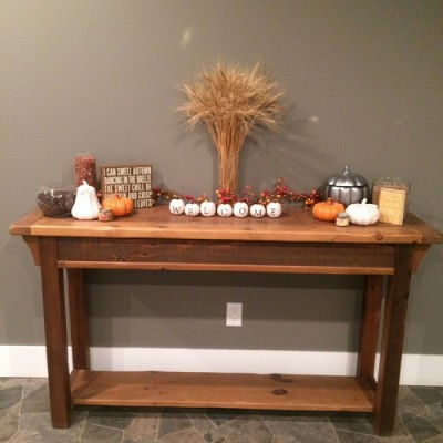 Rustic hall table hand crafted from reclaimed barnwood