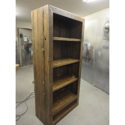 Rustic shelf hand crafted using reclaimed barnwood with original textures