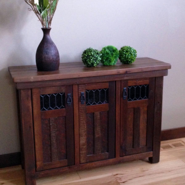 Rustic Modern farmhouse buffet hand crafted locally with lead glass accents