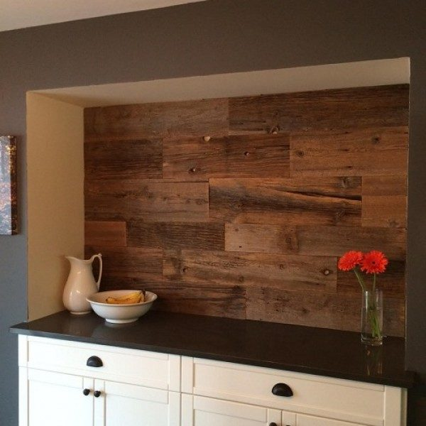 Accent Wall using reclaimed brown weathered wood