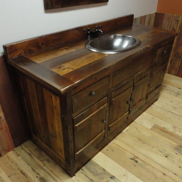 Solid wood vanity hand crafted with locally sourced reclaimed barnwood