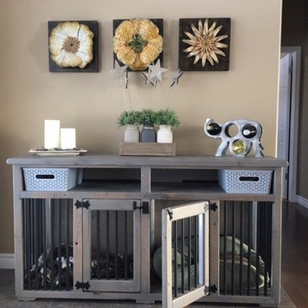 Rustic modern dog crate hall table hand made from local barnwood accented with black hardware