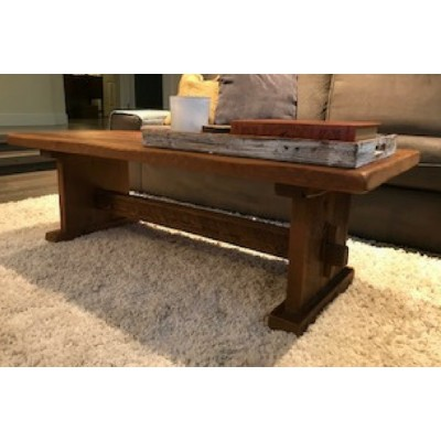 Rustic coffee table hand crafted from reclaimed barnwood