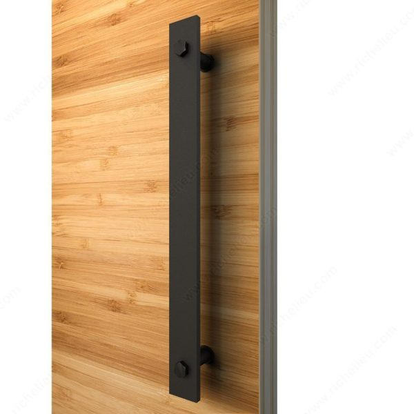 Prairie Barnwood Flat Bar Single Door Pull - One Side Mount- Black - Product #- 246207021MATBC