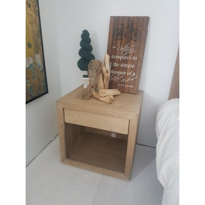 Rustic reclaimed solid wood nightstands hand crafted with weathered wood