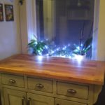 Rustic modern buffet with butcher block top hand crafted using reclaimed barnwood