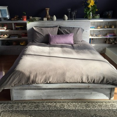 Rustic modern Bed frame hand crafted with reclaimed barnwood perfect for any farmhouse