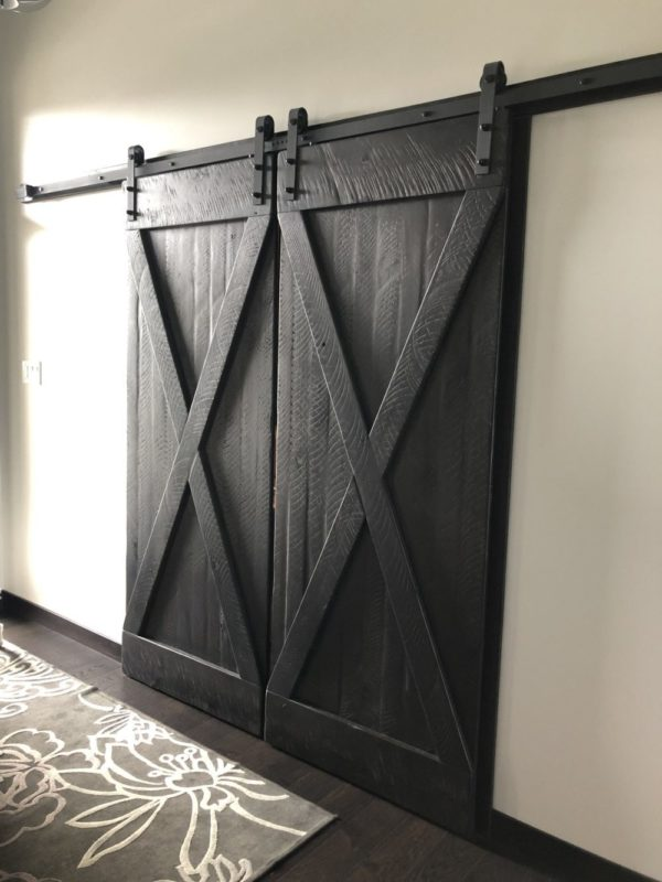 Rustic modern barn door hand crafted with reclaimed barnwood