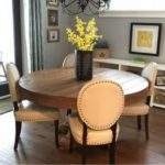Farmhouse round pedestal dining table constructed with solid timbers
