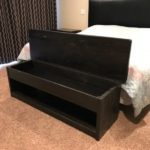 Rustic storage bench hand crafted from solid wood