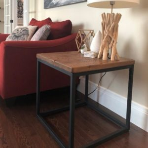 Rustic modern end table hand crafted with reclaimed barnwood and steel base