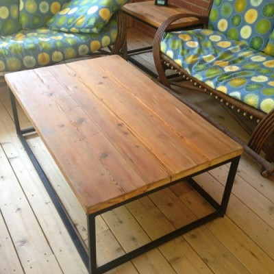 Rustic modern coffee table hand crafted with reclaimed ontario barnwood and metal legs