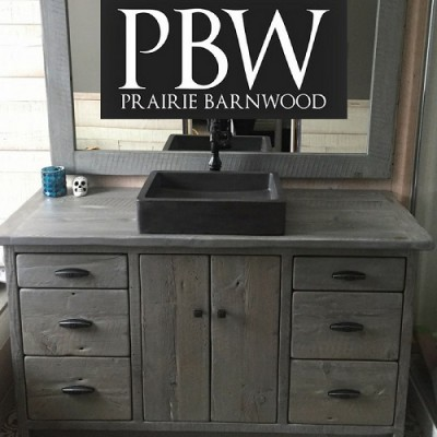 Rustic vanity hand crafted from reclaimed barnwood