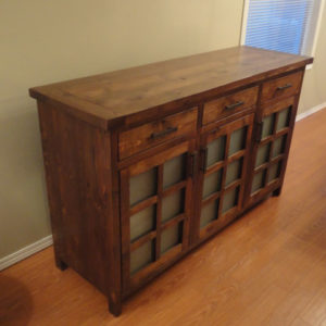 Modern design buffet hand made from localled sourced reclaimed barnwood