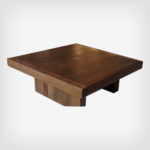 Rustic modern coffee table hand crafted using solid wood timbers reclaimed from a barn in Ontario