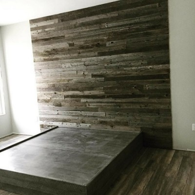 Rustic bed hand crafted from reclaimed barnwood