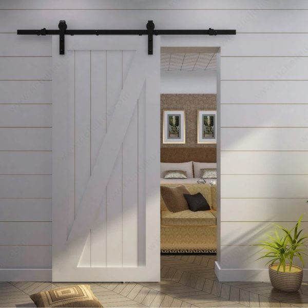 Prairie Barnwood Rustic Barn Door Wall Mount Sliding Door System - Black - Product #- 24600590