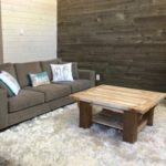 Rustic modern coffee table hand crafted using reclaimed barnwood solid timbers