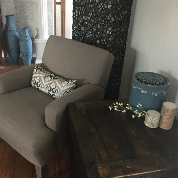 Solid wood end table hand crafted using locally sourced barnwood