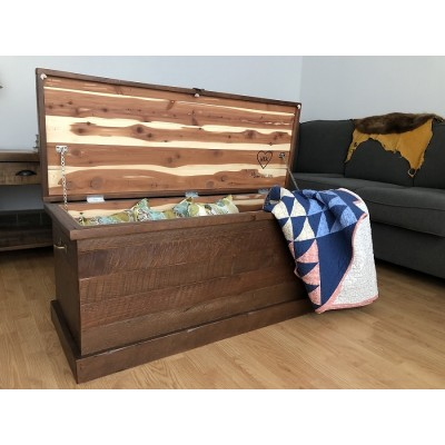 Solid wood chest hand crafted using reclaimed barnwood and lined with cedar