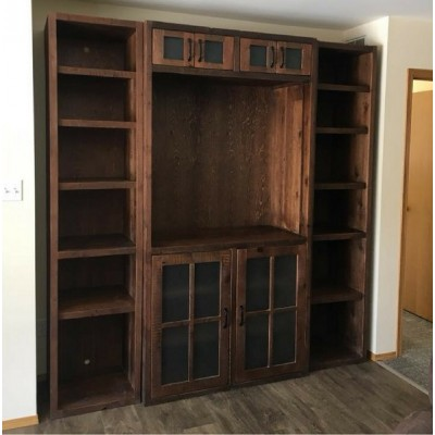 Rustic media center hand crafted from reclaimed barnwood