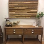 Rustic modern hall table hand crafted with reclaimed barnwood perfect for any farmhouse