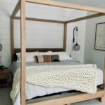 Rustic modern 4 post bed frame hand made with solid Manitoba Oak
