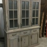 Rustic modern farmhouse buffet hand crafted from barnwood and finished off with rain glass