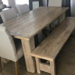 Farmhouse dining furniture set handcrafted from reclaimed barnwood