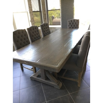 Farm House Pedestal Dining Table hand crafted using solid wood