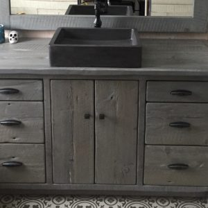 Rustic Modern vanity hand crafted with reclaimed barnwood locally sourced in Ontario