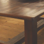 Rustic modern dining table set hand crafted with solid barnwood