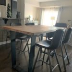 Rustic modern butcher block table hand crafted with solid wood and metal steel legs