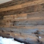 Reclaimed brown weathered wood accent wall